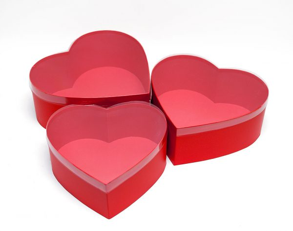 Set of 3 Red heart shape flower boxes