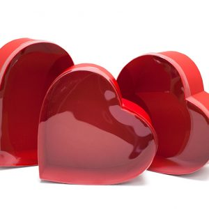 W6634 PVC Clear Lid Red Heart Shape Flower Box Set of 3
