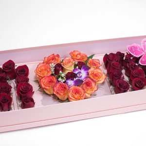 Pink Rectangular Love Mom Flower Box With Liners and Foams